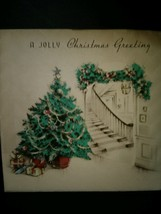 Pretty Tree Staircase Interior View Vintage Christmas Card - $4.00