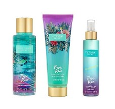 3 Piece Victoria's Secret Tropic Rain Gift Set- Lotion, Dry Fragrance Oi... - $32.50