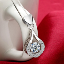 Exquisite White Gold Color Water Drop Necklace AAA Clear CZ Wedding Jewelry - $13.29
