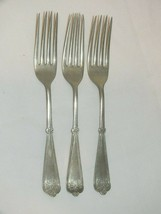 ANTIQUE VICTORIAN FORK SET x3 D&A  BRAZILIAN SILVER GEOMETRIC FLORAL CUT... - $26.12