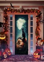 Black Cat on Pumpkins Halloween Door Decoration - $49.99+