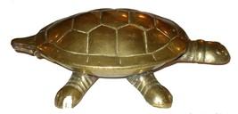 Vintage Tortoise Turtle Figurine Hinged Brass Trinket Box Miniature Statuette image 5