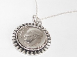 Gear Pendant 1965 American Dime 53rd Birthday + 18 inch Sterling Silver Chain - $17.47