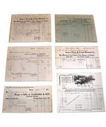 LOT of 6 1901 Antique MASSACHUSETTS Billheads Document Receipts Wool Fib... - $17.99