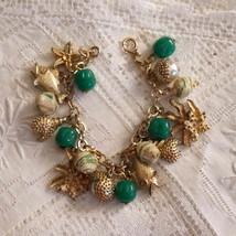 Vintage OOAK Beach Themed Fish Seashell Pearl Chunky Charm Bracelet Cream Green - $91.00