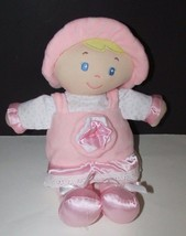 Kids Preferred rattle doll baby soft plush pink hat dress stars flower satin - $8.90