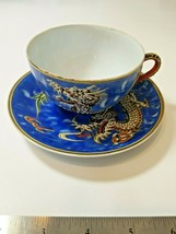 Vintage Japanese Moriage Demitasse Cup Saucer Hand Painted Blue Dragonware - $22.44