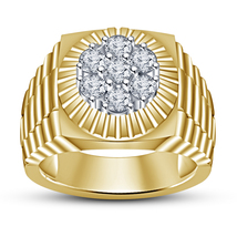 Mens Wedding Diamond Pinky Ring 14k Yellow Gold Finish 925 Sterling Soli... - £72.76 GBP