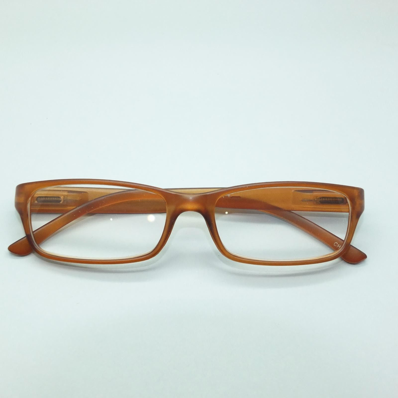 Reading Glasses Modernist Frosted Simple Tech Spring Hinge Frosted Amber +2.50 image 4