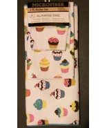 CUPCAKE theme KITCHEN LINENS SET 3-pc Drying Mat Towel Cloth Cupcakes Bl... - $13.99