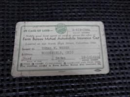 Old Vtg 1942 FARM BUREAU MUTAL AUTOMOBILE INSURANCE Co. IDENTIFICATION CARD - $9.89