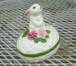 "Bunny Luv Rabbit Egg Vanity Trinket Box Hand Painted Brazil 4"" 1982 Vtg ... - $9.99"