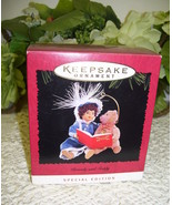 HALLMARK ORNAMENT BEVERLY AND TEDDY 1995  NEVER USED DOLL AND BEAR READING - $21.03