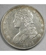 1834 0-120 Small Date Capped Bust Silver Half Dollar RARITY-4 Coin AG45 - $274.60