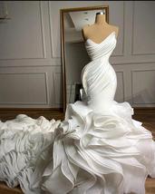 New Arrival robe de mariée Mermaid Wedding dresses Sweetheart Organza Ruffles Sk image 6