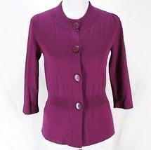Ann Taylor Cardigan Sweater Sz M Purple 3/4 Sleeve Silk Cashmere Blend W... - $17.99