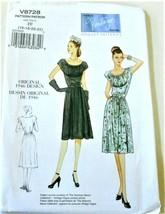 Pattern Vogue Vintage 1946 Dress V8728 Sz 16-22 Uncut Factory Folded - $14.35