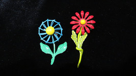 Vintage Blue and Red Enamel Flower Pins and Earrings Set great gift - $25.00