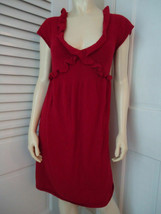 KNITTED KNOTTED ANTHROPOLOGIE Dress S Red Sweater Knit Rayon Wool Cashme... - $59.37