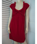 KNITTED KNOTTED ANTHROPOLOGIE Dress S Red Sweater Knit Rayon Wool Cashmere Blend - $59.37