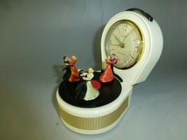 Vintage Dancers Musical Alarm Clock With Reuge Dancing Ballerina Music Box - $688.05