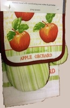 Apple Orchard Kitchen Set 3pc Towel Mitt Potholder Red Green Apples Linens New - $9.99