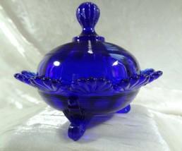 Klondyke Pattern Fluted Scrolls Candy Dish Cobalt Blue Glass - $21.04