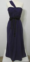 Vera Wang White Purple Cross One Shoulder Ruched Black Ribbon Trim Gown ... - $269.99