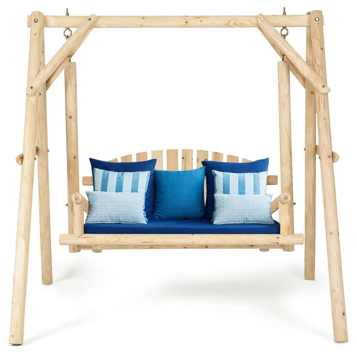 Rustic Wooden Porch Swing Bench W A Frame Stand Set