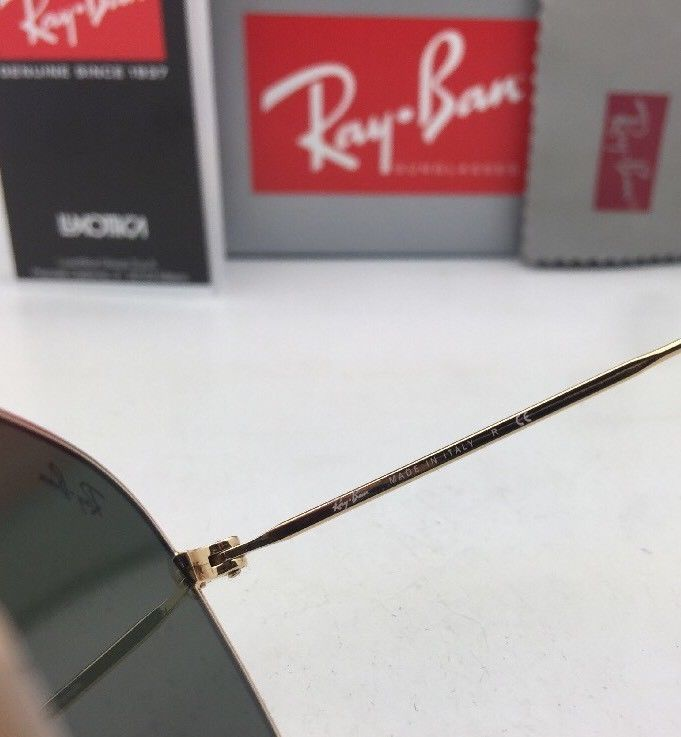 New RAN-BAN Sunglasses HEXAGONAL RB 3548-N 001 48-21 140 Gold Frame w/ G15 Green image 8