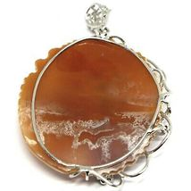 Silver Pendant 925 Cameo Cameo, Face of Women's Engraved, Flowers, 5.5 CM image 5