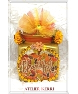 "Glass Apothecary ""Thankful Autumn"" Jar Decor, Vase, Thanksgiving, Vintag... - $17.00"