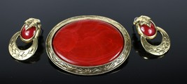 Vintage Red / Gold Tone Unsigned Fashion Costume Jewelry Brooch Pin Earr... - $19.27