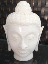 Buddha Statue Meditating Hand Carved Buddhism White Marble - $59.25