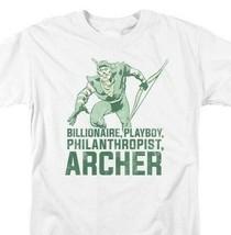 Green Arrow T-shirt retro 80s DC comic book cartoon superhero white tee DCO804 image 1