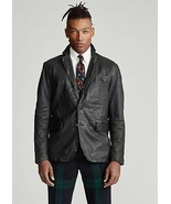 Polo Ralph Lauren POLO BLACK Washed Leather Sport Coat, US Small - $400.06