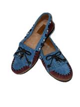 Coach Roxy Rocc ASIN Blue/burgundy Suede Mocc ASIN Sz 5B Women's Loafer Shoes New - $63.60
