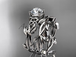 Celtic knot platinum leaf wedding ring set with a Moissanite center ston... - $2,125.00