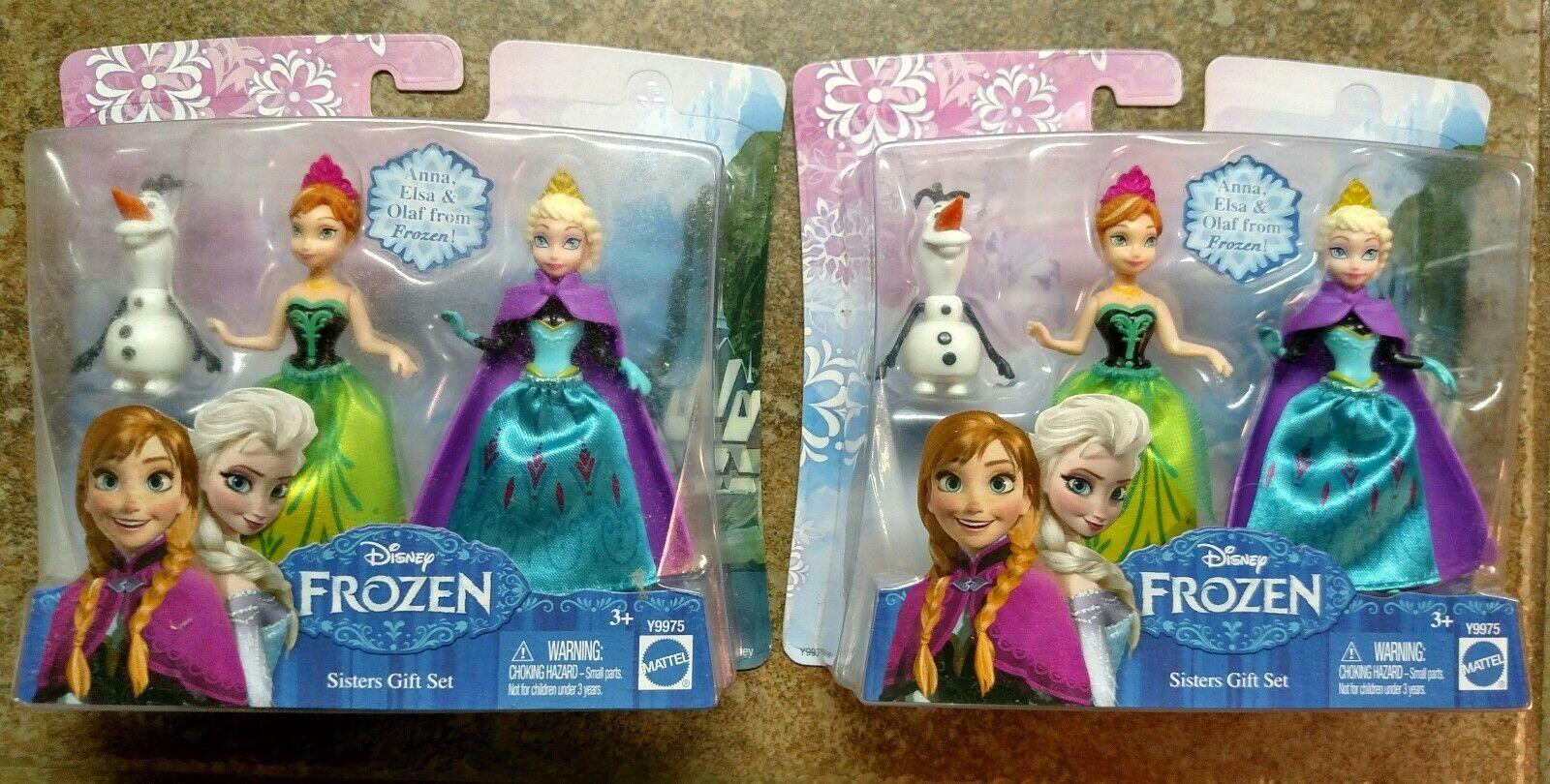 2 Walt Disney 2013 Frozen Sister Gift Sets Princess Elsa Anna Olaf toy figures