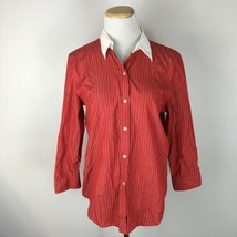 Lauren Ralph Lauren Women's Red Striped Button Front Shirt SIze Medium  - $19.79