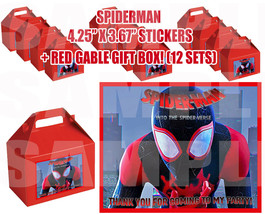 SPIDERMAN Party Favor Boxes Thank you Decals Stickers Loots Party MARVEL... - $24.70