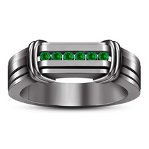 Black Rhodium Finish 925 Sterling Silver Green Sapphire Men's Band Weddi... - $89.99
