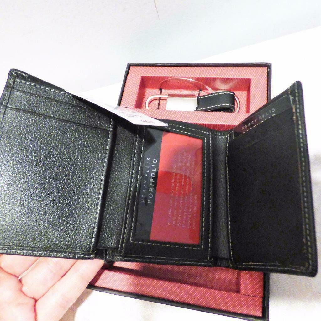 Perry Ellis Gift-Boxed Pebble LeatherTrifold Wallet & Key Fob Gift Set, Black