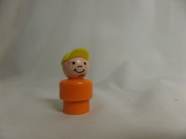 VINTAGE FISHER PRICE LITTLE PEOPLE BOY ORANGE BODY YELLOW HAT - $7.70