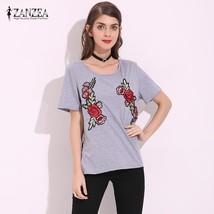 ZANZEA Fashion 2018 Casual Embroidery Shirts Womens Short Sleeve O Neck Summer T - $37.80