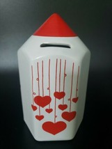"""Vintage Waechtersbach Ceramic 6.5"""" tall Coin Bank White with Red Hearts ... - $59.99"""