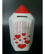 """Vintage Waechtersbach Ceramic 6.5"""" tall Coin Bank White with Red Hearts Rare U23 - £43.90 GBP"""