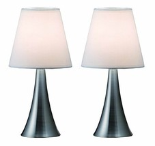 Simple Designs Home LT2014-WHT-2PK Valencia Brushed Nickel Mini Touch Table Lamp