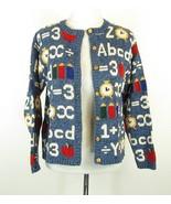 TALBOTS Size S M Primary School Alphabet Cotton Cardigan Sweater - $19.99