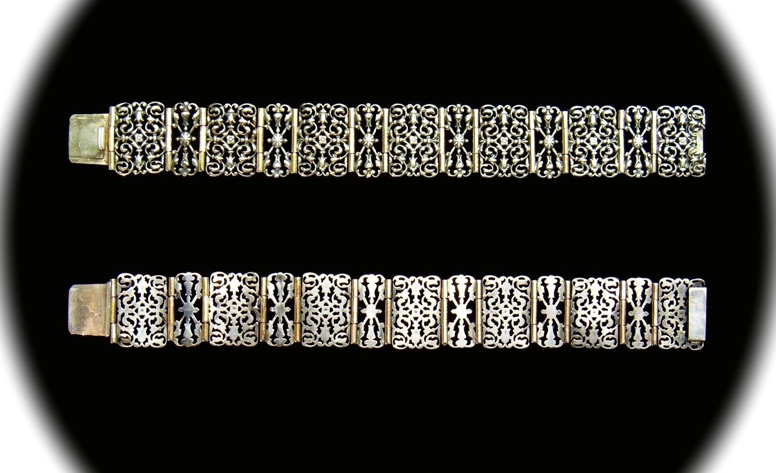 1800s French Antique Silver Gothic Revival Debonair Bracelet Maker Mark